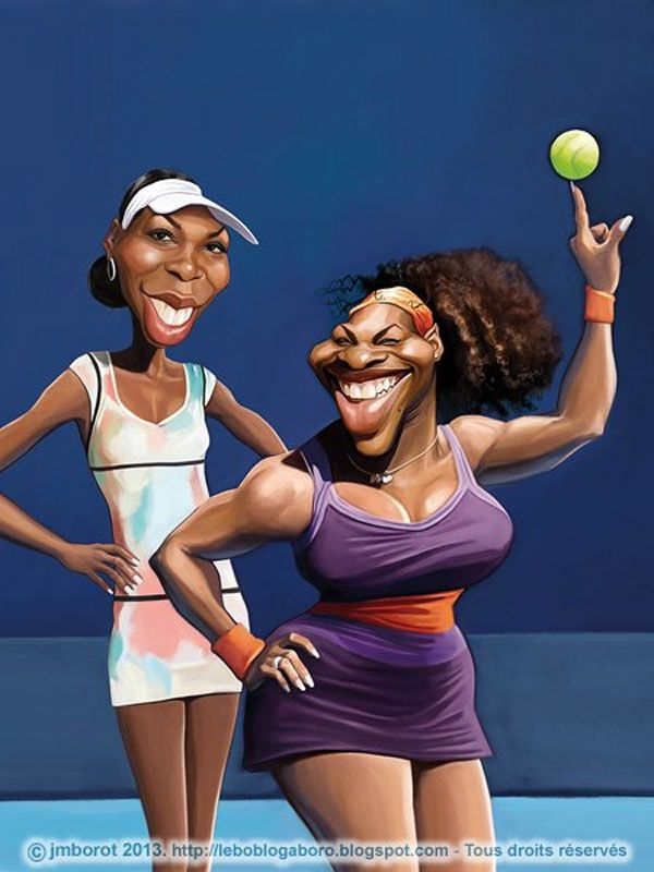 Celebrity caricatures Serena y Venus Williams
