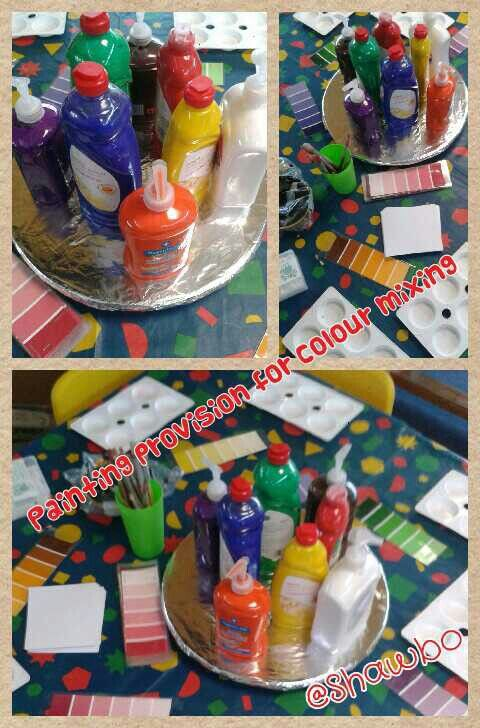 Painting provision for colour mixing using old washing up liquid bottles and soap dispensers with colour swatches to make and match