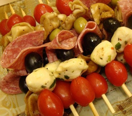 Easy Homemade Holiday Appetizers- Antipasti Kabobs -  Click pic for 24 Christmas Finger Food Ideas