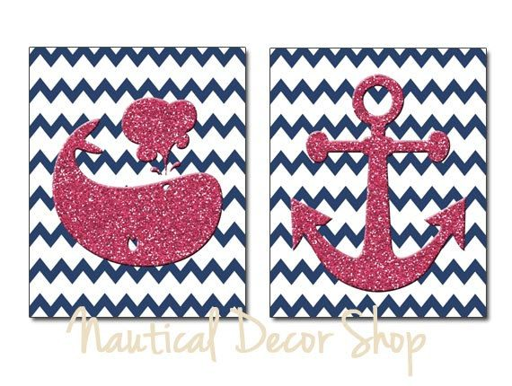 Pink Navy Nautical Nursery for Girls Wal Art, Pink Whale, Pink Anchor, Navy Chevron set of two 8x10 Prints, Navy Pink Nursery, Navy Pink