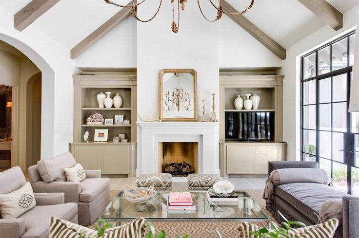 Talbot Cooley Interiors - living rooms - archway, living room archway, archway living room, taupe built ins, fireplace built ins, taupe buil...