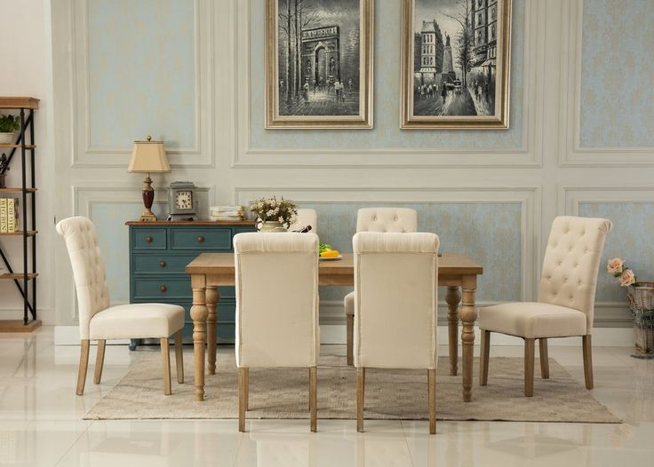 Habitanian Solid Wood Dining Table With 6 Tufted Chairs Tan