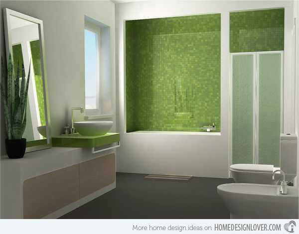 18 Relaxing and Fresh Green Bathroom Designs | Home Design Lover