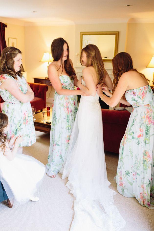 Classic English Garden Wedding Featuring Floral Bridesmaids DressesBridal Musings Wedding Blog