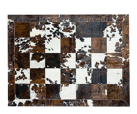 Alfombra de piel de toro normando con ribete I - 180x240 cm