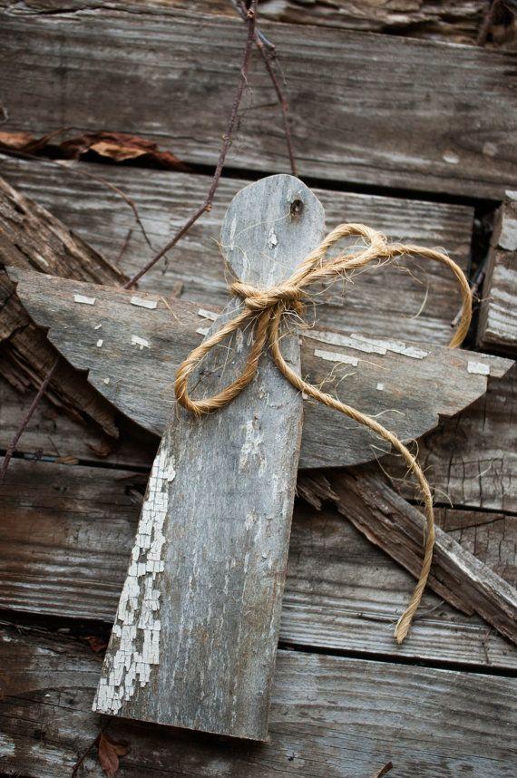 Weihnachtsdekoration Engel – Engel Weihnachtsdekoration für Regal aus Altholz