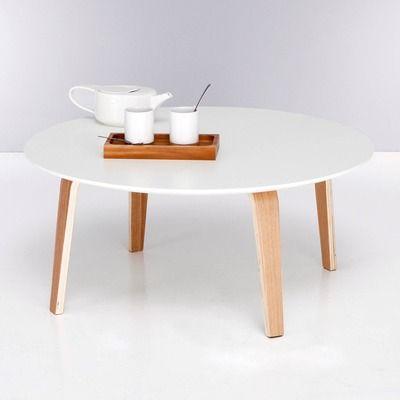 Table basse ronde bi matière plateau blanc pieds naturels - 3 Suisses 77.80 EURO 80 cm diameter
