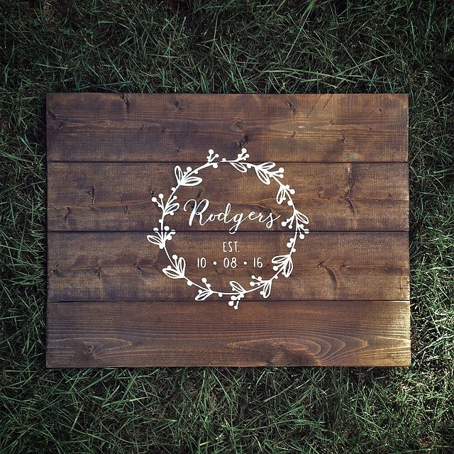 $70 on Etsy | Wood guestbook | Wreath Calligraphy | Guestbook alternative | Wood Guest Book | Shipping to Canada and the US!