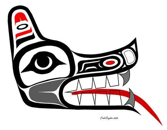 Another Haida wolf head