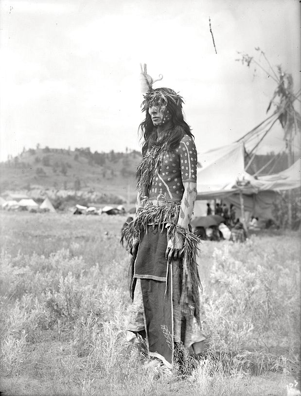 A Cheyenne Man. Northern Cheyenne Indian Reservation in Montana. Early 1900s. Photo by Richard Throssel. Source - University of Wyoming, American Heritage Center.