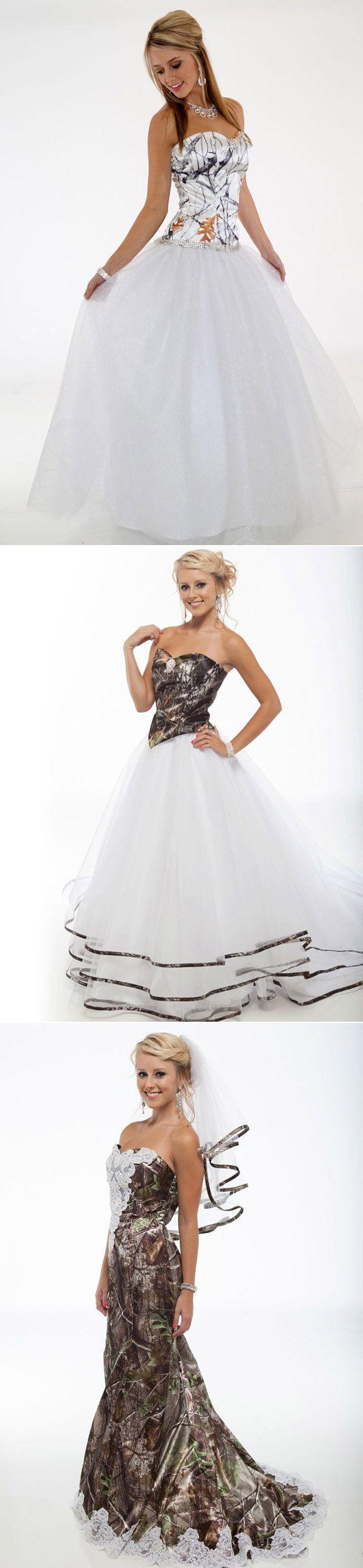 gorgeous white and camo wedding dresses for camo weddings