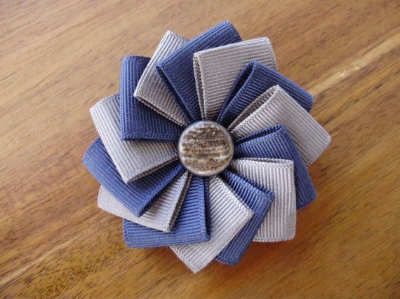 Navy and Grey Ribbon Brooch by Cocarde on Etsy