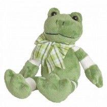 Ernie is lekker zacht en met grote ogen kijkt hij de wereld in. Deze kikker kan wel tegen een flinke knuffel.  Groene kikker gemaakt van hoge kwaliteit pluche, met een groen geruite sjaal en grote ogen.