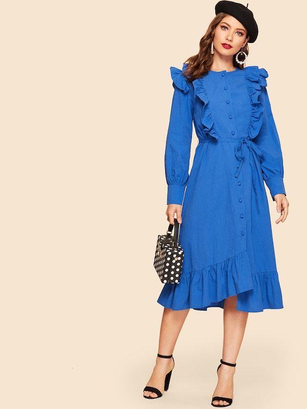 abdabf3b8f Single Breasted Ruffle Trim Asymmetrical Belted Dress -SHEIN(SHEINSIDE)