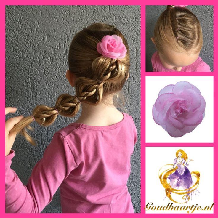 Bubble rope pony met haarelastiekjes en haarbloem van Goudhaartje.nl #bubbleropepony #ropebraid #braid #hairflower #hairstyle #vlecht #haarbloem #haarstijl #haaraccessoires #goudhaartje