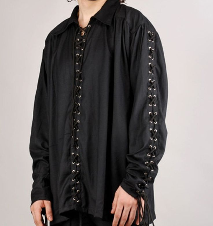 Men's Shirt, Black Shirt, Pirate Shirt, Rocker Shirt, Renaissance, Medieval Pirate, Steampunk, Johnny Depp Shirt, Musician's Shirt, by BuffaloGalVintage on Etsy