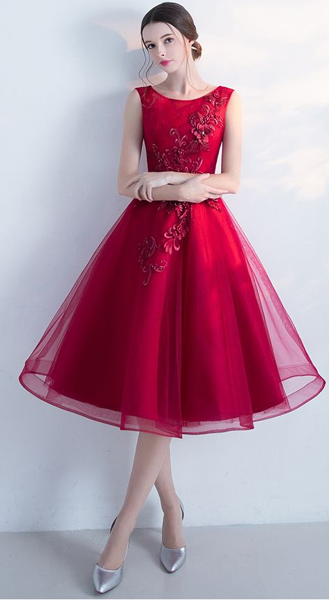 Sleeveless Cocktail Dress,A-line Tulle Short Prom Dresses,Wine Red Homecoming Dress,New Arrival Graduation Dresses,Fashion Dress With Flowers