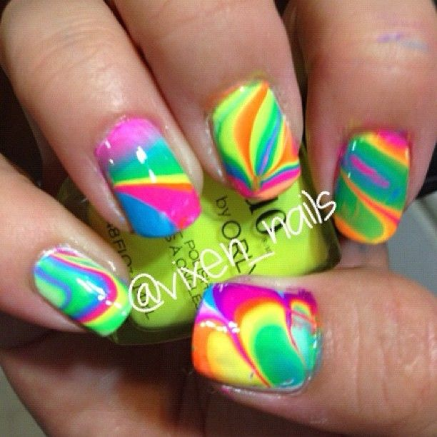 94 best neon nail art images on pinterest neon nail art neon from nail art gallery rainbow watermarble prinsesfo Image collections