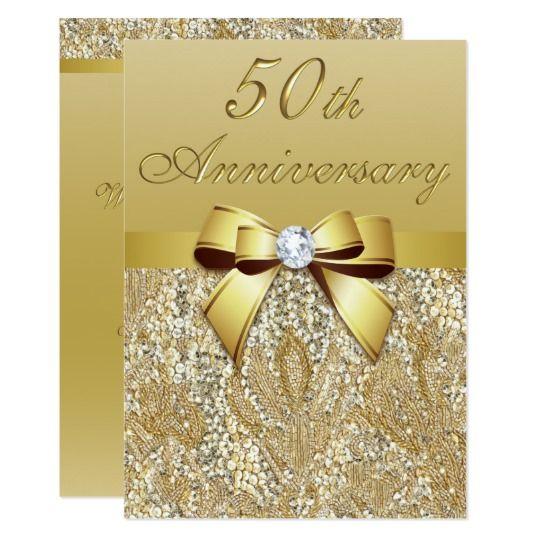 """50.o Lentejuelas y arco del aniversario de boda Invitación 5"""" X 7"""""""