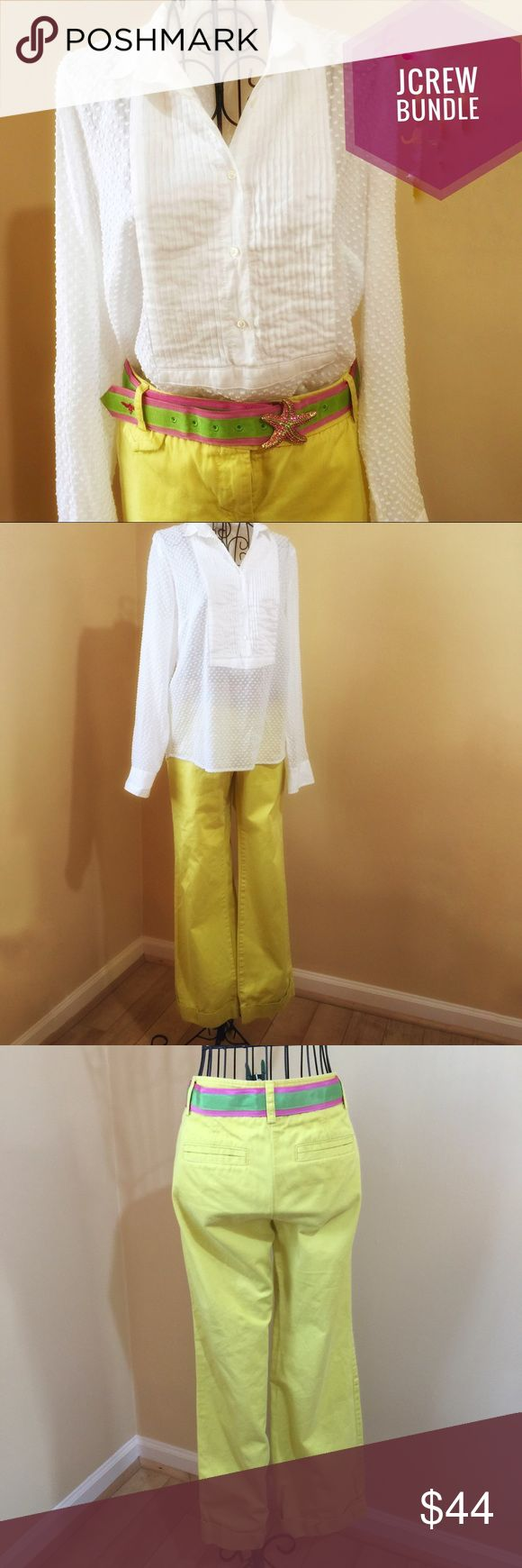 """J CREW BUNDLE JCREW Bundle. Summery Swiss-Dot tuxedo Cotton top, semi shear, crisp and airy. Chest 21"""", sleeve 23.5, length 25"""". Classic twill chino, weathered, city fit, pants . 100% Cotton. Gorgeous canary yellow, as shown in first photo. Waist 15.5"""", inseam 29.5"""", rise 9"""", wide 2"""" sewn in cuff. Both items, not Factory. Top size 6, pants size6p. Awesome STARFISH belt included,thank you for visiting. J. Crew Tops"""