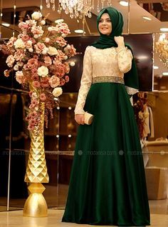 Magic Evening Dress - Green - Pınar Şems Modanisa