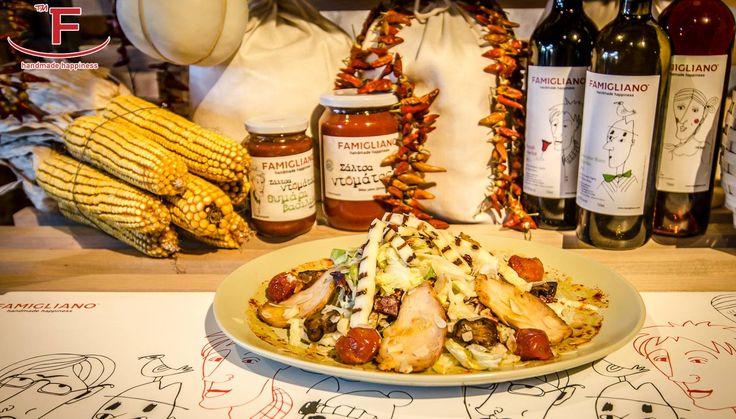 Σαλάτα Κοτόπουλο με τυρί Ταλαγάνι! κοτόπουλο φούρνου, φρέσκα λαχανικά, ψητά ντοματίνια, σοταρισμένα μανιτάρια, καβουρδισμένο αμύγδαλο, μέλι και σάλτσα. #Famigliano #handmade #happiness #pizza #burgers #coffee #focaccia #Θεσσαλονίκη