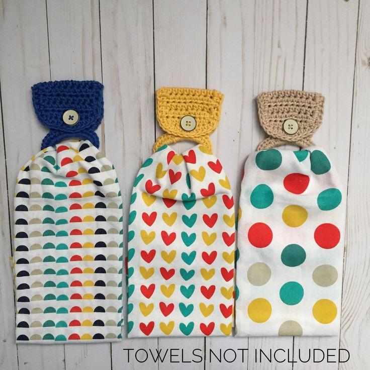 Hanging towel holder, Hand towel holder, Crochet hanging towel holder, Towel holder, Kitchen towel holder, Crochet towel holder by yarnoverbymary on Etsy