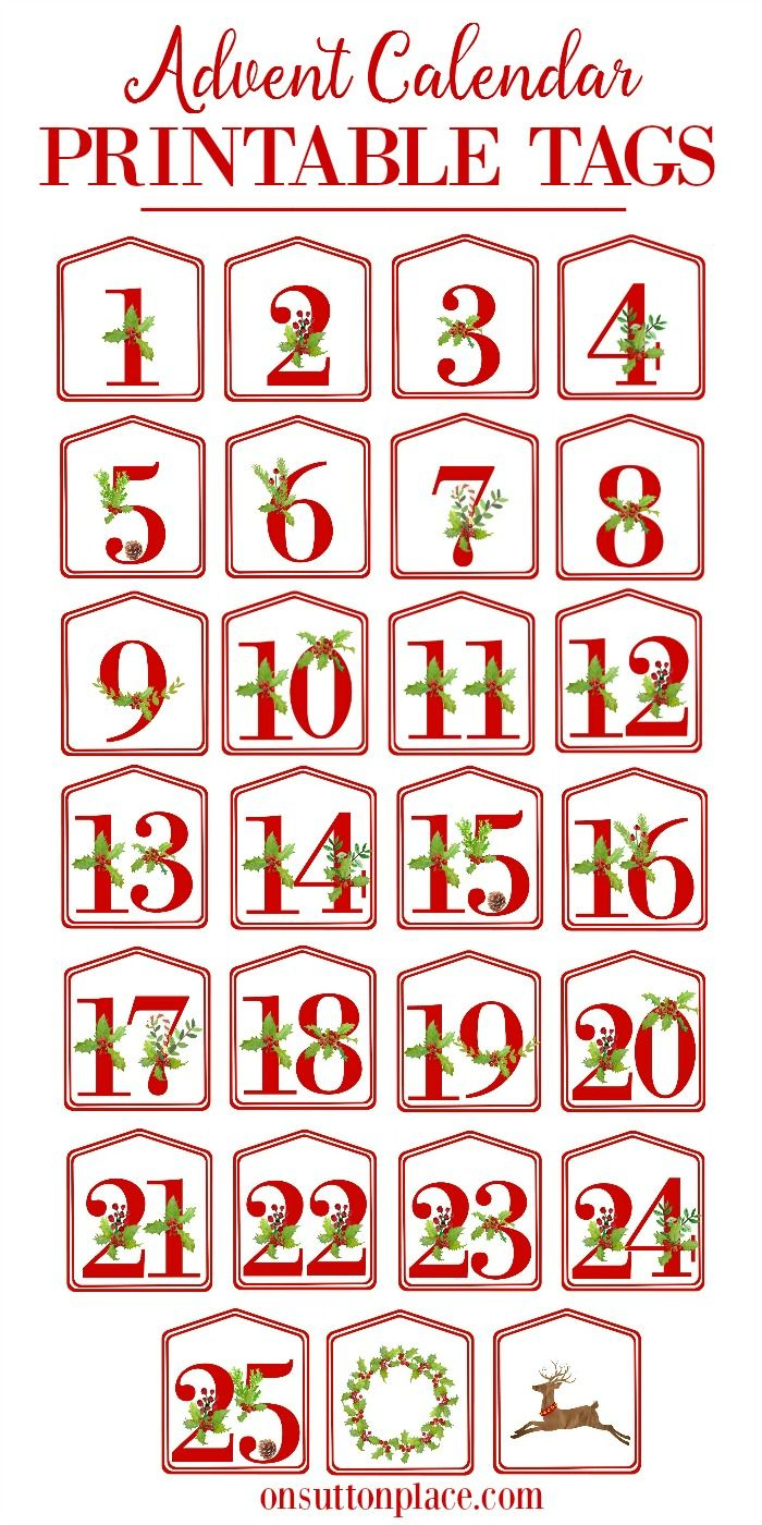 457 best advent calendars ideas images on pinterest wooden advent diy advent calendar printable red number tags saigontimesfo