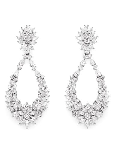 Diamonds in 18K white gold earrings, Jasani - The Jewellery Lounge