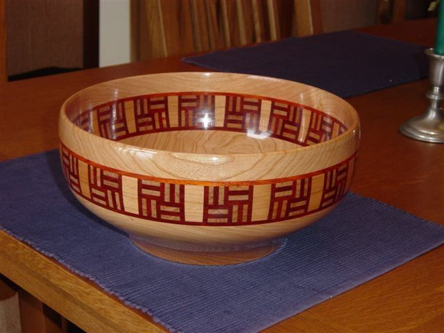 Cherry wood bowl with padouk and cherry feature ring