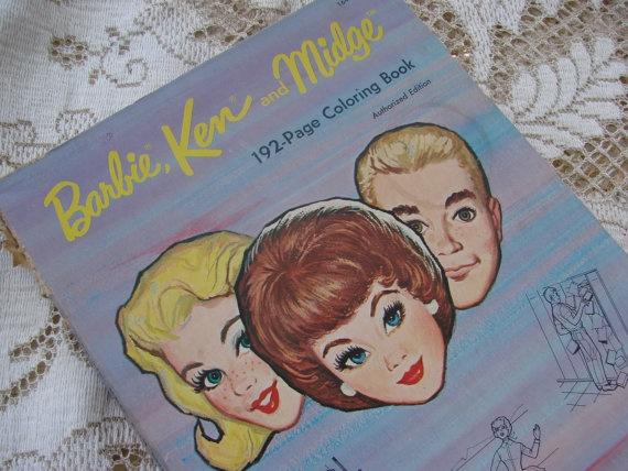 Vintage 1964 Barbie Ken And Midge Coloring Book 995 Via Etsy