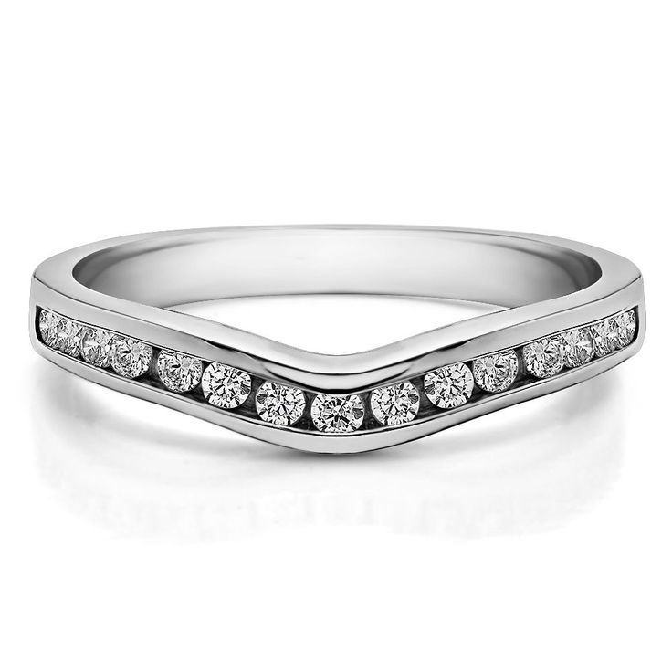 Sterling Silver Traditional Style Curved Wedding Tracer Ring mounted with Cubic Zirconia (0.62 Cts. twt) (
