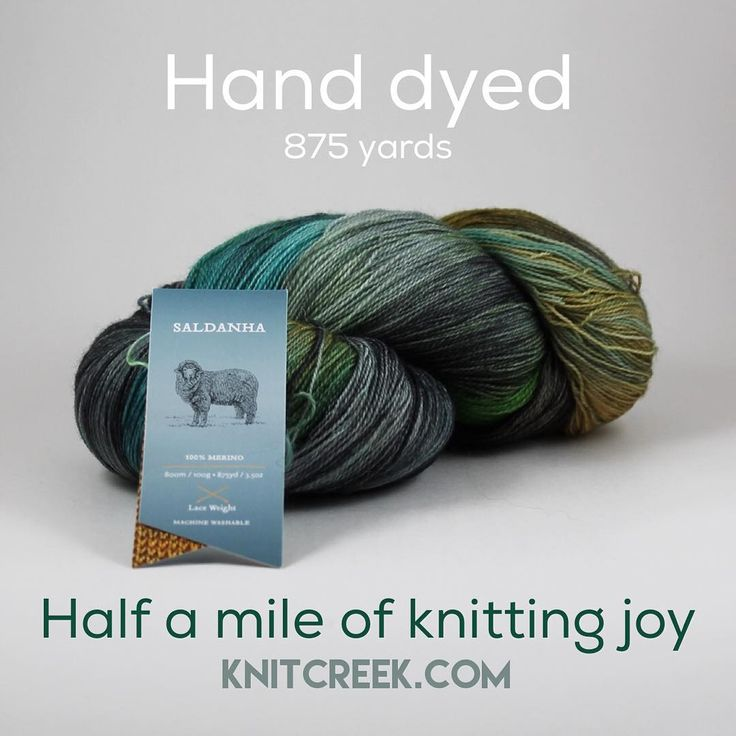 100% merino superwash hand dyed lace weight. 875 yards. Half a mile of knitting joy. http://Knitcreek.com/products/saldanha