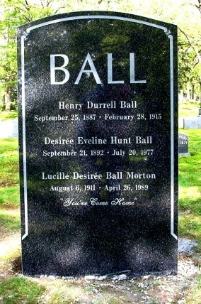 Lucille Ball's ashes were initially interred in Forest Lawn – Hollywood Hills Cemetery in Los Angeles, but in 2002 her children moved her remains to the family plot at Lakeview Cemetery in Jamestown, New York, where Ball's parents, brother, and grandparents are buried