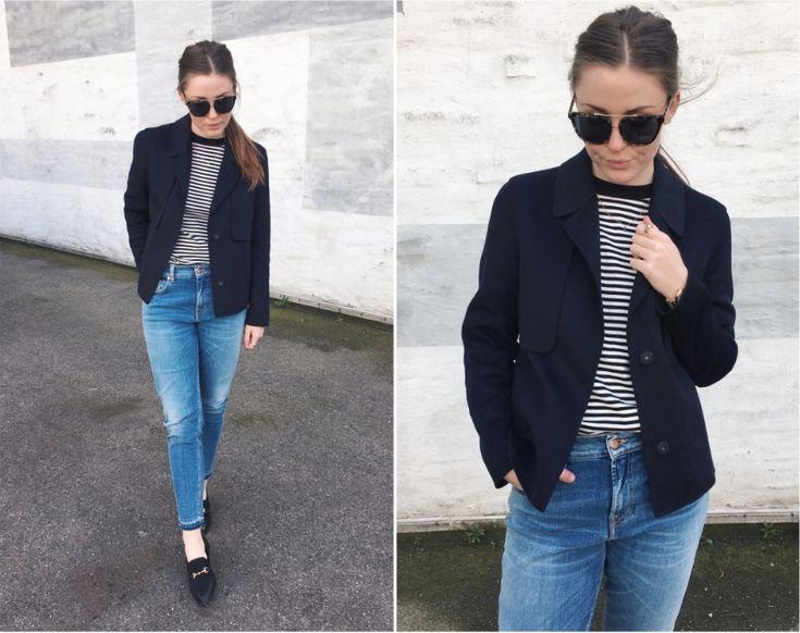 Blå jeans og striber