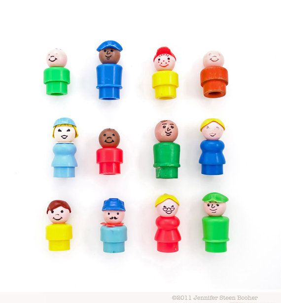 Rainbow People - 8x8 photograph - vintage toys