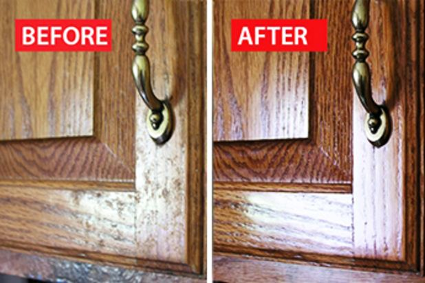 Clean away the grime on wood kitchen cabinets.