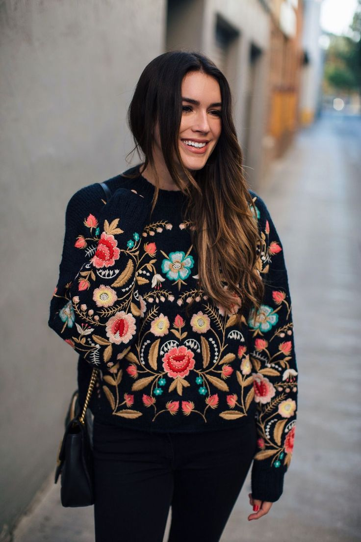 { Street Fashion Trend 2018 } Gorgeous Embroidered Black Sweater as featured on Pasabohocolorful floral embroidery patterns :: street wear :: boho chic :: bohemian theme :: gypsy :: coachella outfit :: casual dress flowers :: embroidered dress :: trendy :: hippie chic :: summer dress :: cute dress :: vintage boho style :: boho fashion shop :: festival outfit :: evening dress :: women's fashion party :: hippie hipster :: boho top :: fashion trends :: street fashion :: folklore #PASABOHO