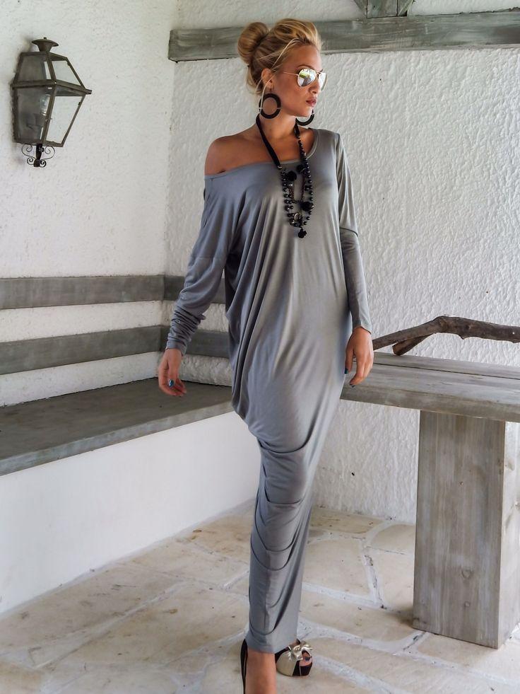 Grigio Maxi manica lunga abito grigio Kaftan / asimmetrica Plus Size Abito Oversize sciolto abito / #35048 di SynthiaCouture su Etsy https://www.etsy.com/it/listing/206281936/grigio-maxi-manica-lunga-abito-grigio