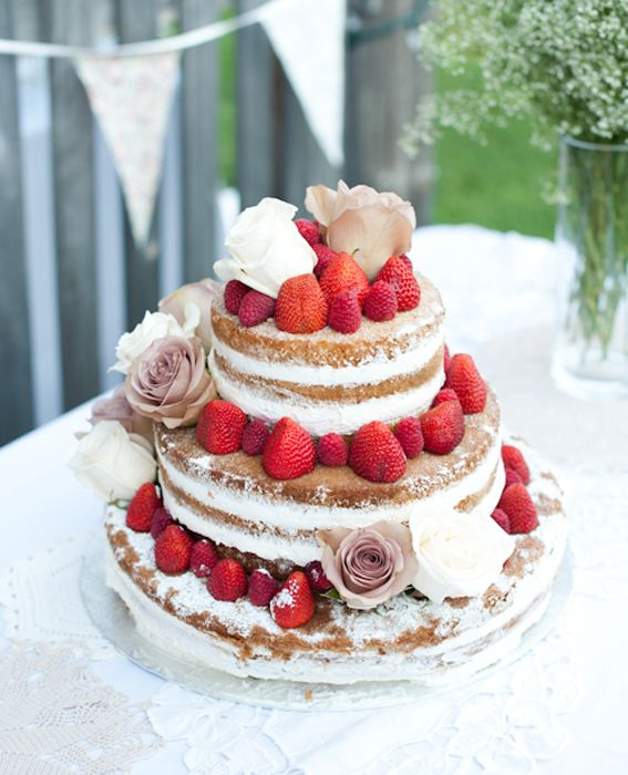Go Naked: 10 Gorgeous Unfrosted Wedding Cakes Like Angelina Jolie's - Summertime Sweet - from InStyle.com