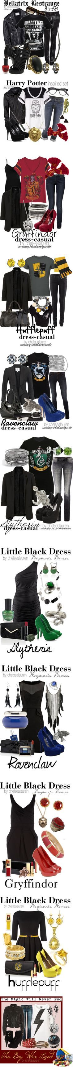 """""""Harry Potter"""" by chelsealauren10 on Polyvore ~ some of these outfits/accessories are kinda cute, plus its Harry Potter.."""