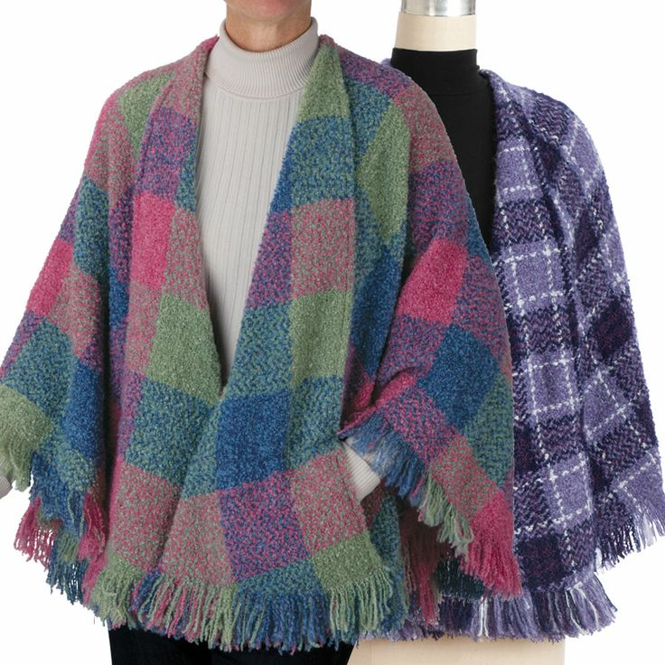 """How clever the Irish are. They take a simple cape, fold an edge for a shawl collar, sew a few seams, and—faith and begorrah!—pockets. Woven in Ireland by Branigan Weavers of Drogheda, County Louth, 90/10 wool blend cape is fringed all around. Lightweight, cozy, 29"""" long. One size fits most (6–16). Dry-clean."""