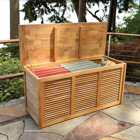 Baker Bainbridge Teak Louvered Panel Outdoor Storage Box