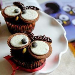 Cupcakes in de vorm van een uiltje! Om op te eten... ;-)