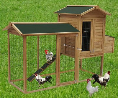 New Wood Run Backyard Chicken Cage Coop Hen House Nest Box Pet Rabbit Hutch  Farm |