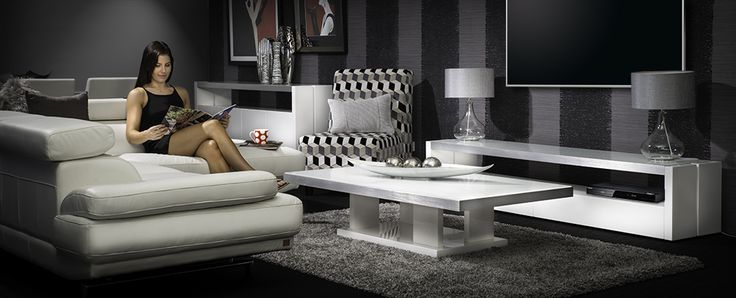 Rhode Island entertinament unit coffee table. The clean lines of the Rhode Island collection are pure class with pristine white gloss lacquer, brushed aluminium trim and white glass top. Perfect to create an ultra-chic and stylish look for your home.