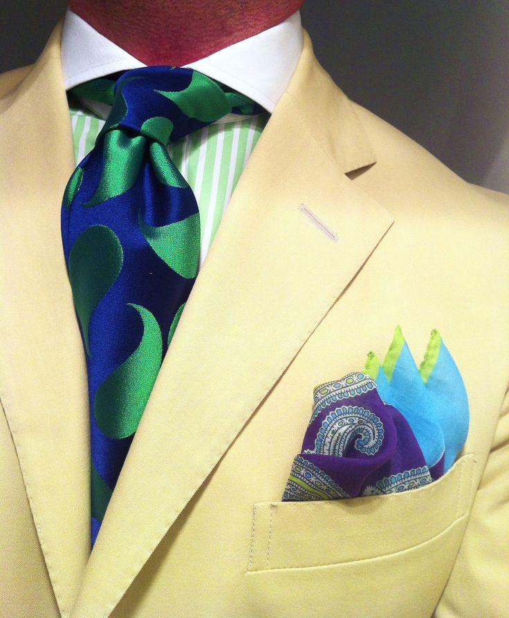 WIWT Khaki suit Ralph Lauren, green striped shirt with contrasting white collar Purple Label, blue/green paisley tie Richard James, cotton square by Paul Stuart