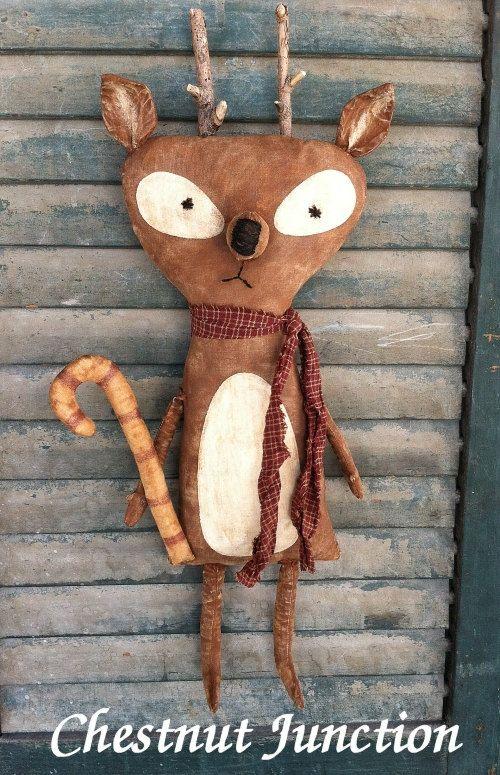 Rocko Reindeer EPATTERN - primitive christmas holiday cloth doll craft digital download sewing pattern - PDF - 1.99