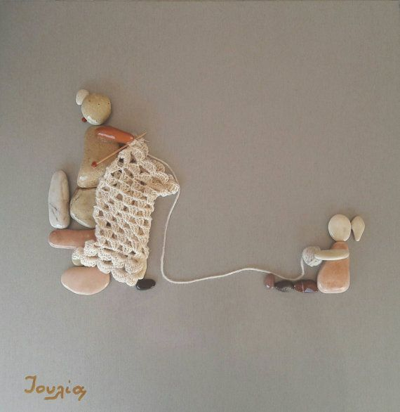 40x40 cm Helping grandmother to knit Pebble Art Unique Wall Art Home Decor Pebble Art Unique Gift Mother s day