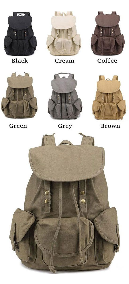 Which color do you like?Unique High School Bag Leisure Student Travel Canvas Backpack #unique #student #canvas #travel #school #rucksack #college